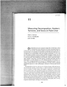 Measuring Decomposition, Nutrient Turnover, and Stores in Plant Litter