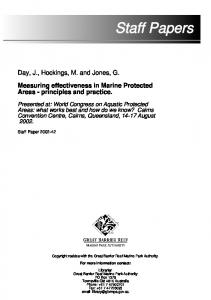 Measuring effectiveness in Marine Protected Areas