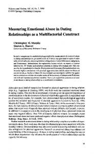 Measuring Emotional Abuse in Dating Relationships
