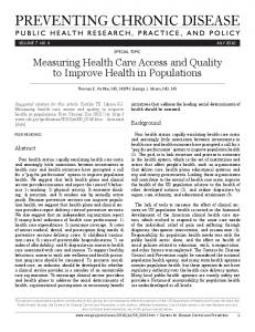 Measuring Health Care Access and Quality to Improve Health in ...