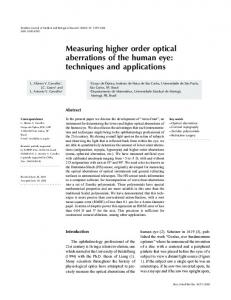 Measuring higher order optical aberrations of the human eye - SciELO
