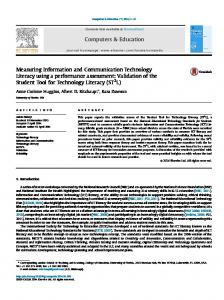 Measuring Information and Communication Technology Literacy using ...