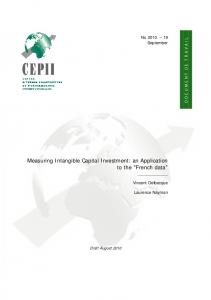 Measuring Intangible Capital Investment - CEPII