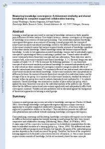 Measuring knowledge convergence: Achievement similarity and ...