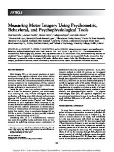 Measuring Motor Imagery Using Psychometric ... - Sciences pour tous