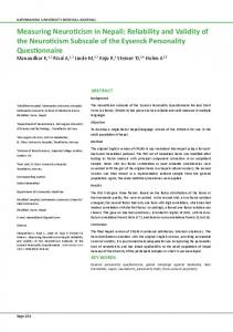 Measuring Neuroticism in Nepali: Reliability and Validity of the ...