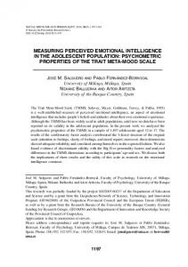 measuring perceived emotional intelligence in the adolescent ...