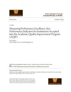 Measuring Performance Excellence: Key