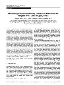 Measuring Social Vulnerability to Natural Hazards in ... - Springer Link