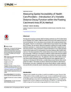 Measuring Spatial Accessibility of Health Care
