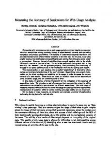 Measuring the Accuracy of Sessionizers for Web Usage ... - CiteSeerX