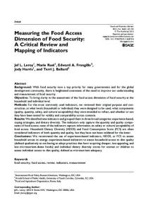Measuring the Food Access Dimension of Food Security: A Critical