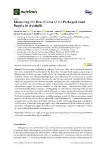 Measuring the Healthiness of the Packaged Food Supply in ... - MDPI