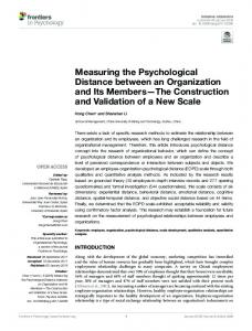 Measuring the Psychological Distance between an ... - Semantic Scholar