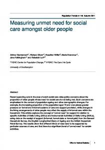 Measuring the unmet need for social care amongst ... - Semantic Scholar