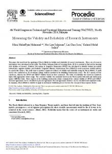 Measuring the Validity and Reliability of ... - ScienceDirect.com