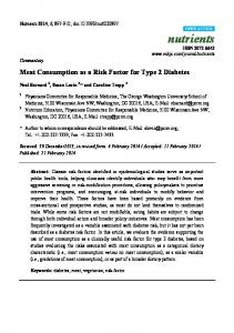 Meat Consumption as a Risk Factor for Type 2 Diabetes - BioMedSearch