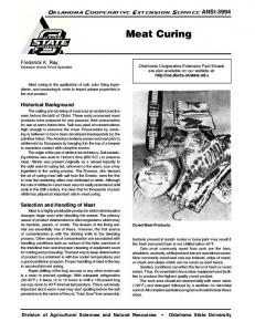Meat Curing - OSU Fact Sheets - Oklahoma State University