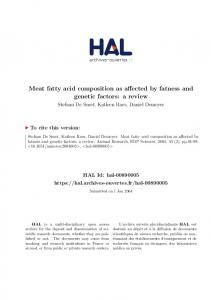 Meat fatty acid composition as affected by fatness and genetic ... - Hal