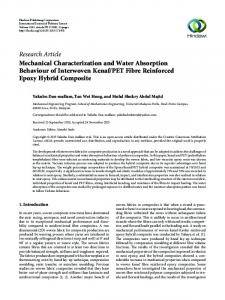 Mechanical Characterization and Water Absorption Behaviour of ...