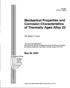 Mechanical Properties and Corrosion ... - Site Index Page