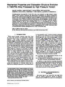 Mechanical Properties and Dislocation Structure Evolution in ...