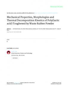 Mechanical Properties, Morphologies and Thermal