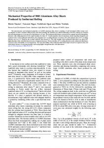 Mechanical Properties of 5083 Aluminum Alloy Sheets Produced by ...