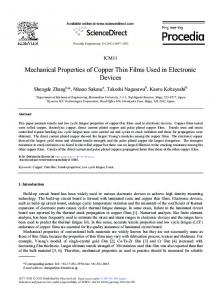 Mechanical Properties of Copper Thin Films Used in ... - ScienceDirect