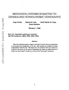 MECHANICAL SYSTEMS SUBJECTED TO GENERALIZED
