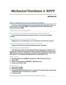 Mechanical Ventilation and NIPPV