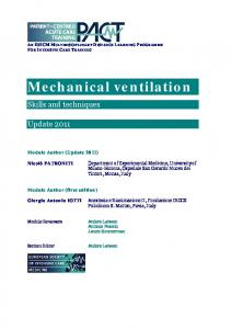 Mechanical ventilation - PACT - ESICM