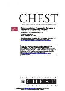Mechanically Ventilated Patients Administration of ...
