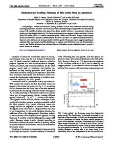 Mechanism for Limiting Thickness of Thin Oxide Films on ... - CiteSeerX