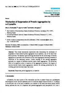 Mechanism of Suppression of Protein Aggregation by ... - BioMedSearch