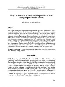 Mechanisms and processes of social change in post-socialist Warsaw