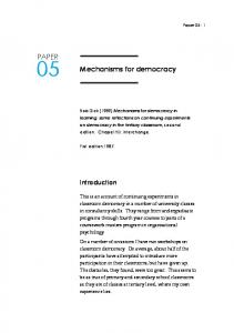 Mechanisms for democracy PAPER - Action research