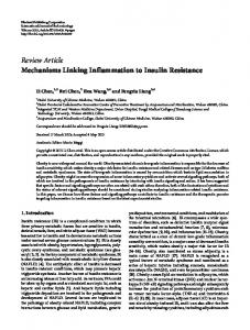 Mechanisms Linking Inflammation to Insulin Resistance