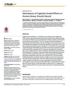 Mechanisms of Cigarette Smoke Effects on Human Airway ... - PLOS