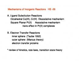 Mechanisms of Inorganic Reactions HS -26 A. Ligand Substitution ...
