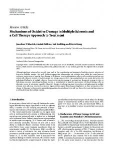 Mechanisms of Oxidative Damage in Multiple Sclerosis and a Cell ...