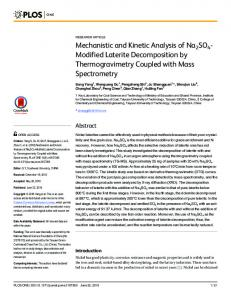 Mechanistic and Kinetic Analysis of Na2SO4