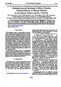 Mechanochemical Synthesis of Silver Chloride ... - CiteSeerX