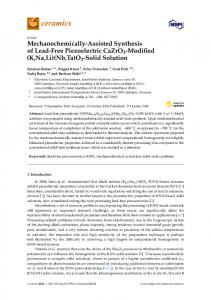 Mechanochemically-Assisted Synthesis of Lead-Free ... - MDPI