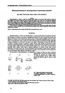 Mechanochemistry in the preparation of advanced materials