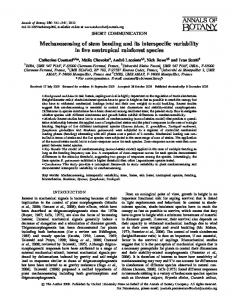 Mechanosensing of stem bending and its interspecific variability in five ...