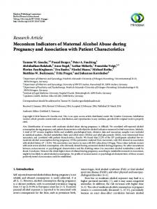 Meconium Indicators of Maternal Alcohol Abuse during Pregnancy ...