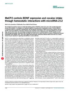 MeCP2 controls BDNF expression and cocaine intake ... - Nature