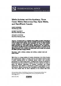 Media Activism and the Academy, Three Cases: Media Democracy ...