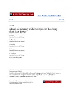 Media, democracy and development: Learning from ...